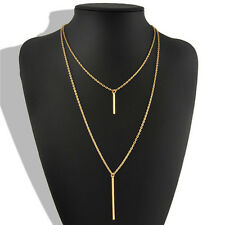 Retro Gold Necklace Bohemian Long Sweater Chain Vertical Bar Pendant Necklace