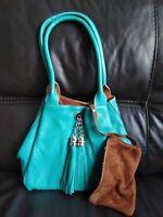 Turquoise Green Italian Leather Reversible Medium Slouch Shoulder Bag Tassel 184