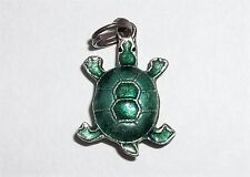 """Vintage Sterling Silver Charm Green Enamel Tiny Baby Turtle 0.9g 11/16"""" Nature"""