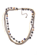 Shiny Beaded Party Necklace (T523) Great Four Rows Brass colour Chaisn&Metallic