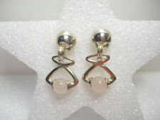 Bead Shape Rose Quartz Pale Pink Earrings Sterling Silver Dangle Style Pierced