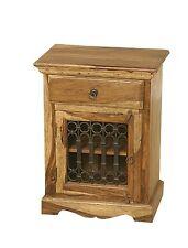 Jali Solid Sheesham Indian Rosewood 1 Door Cabinet/Bedside Fully Assembled