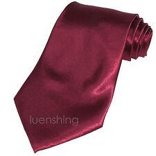 New Polyester Men's Neck Tie Shiny Finish Burgundy Necktie only formal wedding