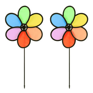 2pcs Flower Shaped Pinwheel Garden Stakes Wind Spinner Outdoor Windmill for kids