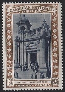 Canada Poster stamp:1937 Canadian National Exhibition CNE,Industries Bldg-dw13Ab