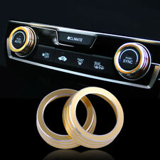 2x Gold AC Air Condition Control Switch Cover Knob Ring Trim Fit For Honda Civic