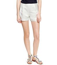 Tory Burch Georgina White Linen Silk Pleated Dress Shorts Womens 4 *NEW* $195