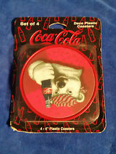 "NEW! 1996 THE COCA-COLA COMPANY DECO PLASTIC COASTERS 4"" Polar Bear"