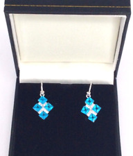 BLUE TOPAZ Gemstones Drop Earrings 925 SS
