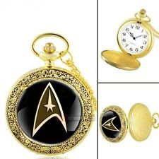 Star Trek Gold Commander Pendant Pocket Watch Locket Necklace Chain + Free Gift
