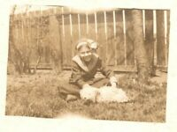 Vintage 1910's RPPC Postcard - Snapshot Cute Girl with her Small White Dog