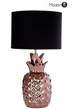 Copper pineapple table lamp with black shade, Art Deco copper bronze table lamp