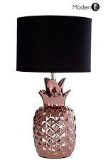 COPPER ANANAS Lampada da tavolo con paralume nero, Art Deco Lampada Da Tavolo Bronzo Rame