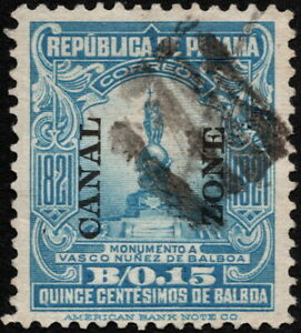 Canal Zone - 1921 - 15 Cents Light Blue Statue of Balboa Overprinted #64 VF Nice
