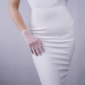 Tulle Gloves Lace Semi Sheer Mesh Short TECH Touchscreen Sensitive Black White