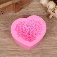 Herzförmige Rose 3D Silikon Fondant Form DIY Backen Sugarcraft Formwerkzeug-