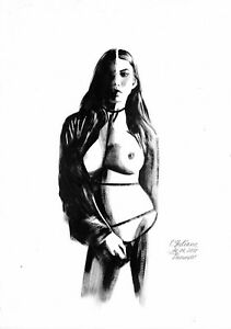 original drawing A3 486OJ art samovar realism oil dry brush female nude Signed