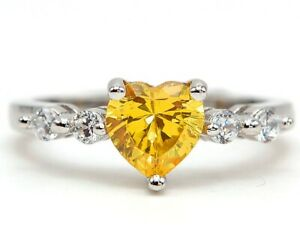 Heart 2CT Yellow Sapphire & Topaz 925 Sterling Silver Ring Jewelry Sz 6 SD1
