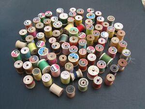 80+ Vintage Sewing Thread Wooden Spools Crafts Variety Estate Find
