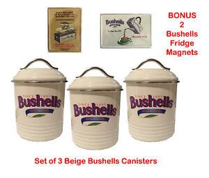 Bushells Metal Beige  Canister SET of 3 + BONUS MAGNET