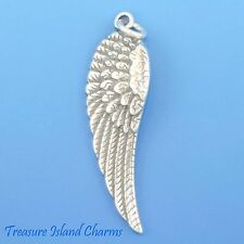 ANGEL WING LARGE LEFT .925 Solid Sterling Silver Charm Pendant 31x10mm