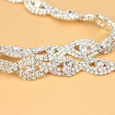 1yds Affordable STUNNING Rhinestone Crystal Silver Applique Chain Bridal Trim