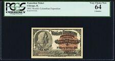 "World's Columbian Exposition Ticket 1893 ""Columbus""  PCGS Very Choice New 64"