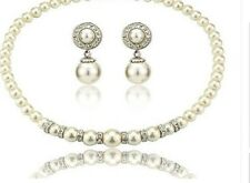 Wedding Party Cream Faux Pearl & Diamante Crystal Rondell Choker Necklace Set