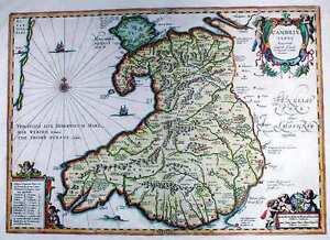 Antique map, Cambriae Typus