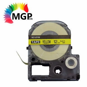 1X LC-4YBW  LC Tape for Epson LW-300 LW-400 12mm Black on Yellow 8m