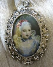 Miniature Wafer Painting 18thc Young Girl Sterling Frame Sgn; Germany