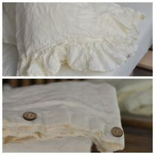 DUVET COVER set & pillow with ruffle antique white Stone Washed Seamless full