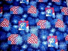 Fabric Traditions Patriotic American Flag Lady Liberty Sparkle Fireworks oop YD