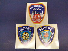 9-11 COMMEMORATIVE EMBLEM SET, NYPD, FDNY, PORT AUTHORITY, TRADE CENTER TOWER