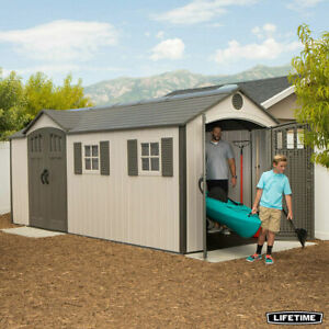 Lifetime 17.5ft x 8ft (5.3 x 2.4m) Dual Entry Outdoor Storage Shed