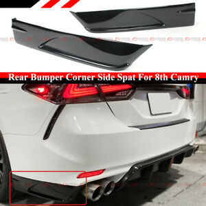 FOR 2018-2021 TOYOTA CAMRY SE XSE V3 GLOSS BLACK REAR BUMPER CORNER APRON SPATS