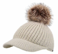 Ladies Women Fur Pom Cable Knit Visor Brim Beanie Hat Chunky Winter Skully Cap