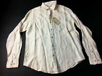 Caribbean New Mens White Long Sleeve Button Front Linen Shirt Size Medium