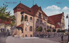 AK Worms Rhein gel. 1916 Feldpost Bahnhof Uhr Laterne
