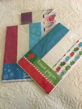Lot Of 3 Packages Of Tissue Paper Solid And Printed 15 Sheets Per Package