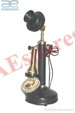 NEW BLACK & BRASS CANDLE STICK TYPE TELEPHONE, OLD VINTAGE ANTIQUE STYLE @uk