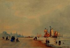 BEAUTIFUL EARLY ANTIQUE DUTCH WATERCOLOUR LANDSCAPE SCHEVENINGEN DEN HAAG 1850s