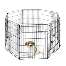 "PawHut PawHut 24"" Pet Dog Playpen Puppy Cage 8 Panel Metal Fence Run Garden"