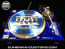2 custom Candy Blue & Chrome Technics SL 1200 mk5's white leds powder coated