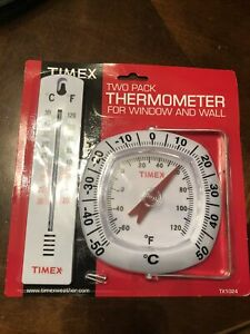 TIMEX Two Pack THERMOMETER For Window and Wall TX1024