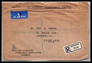 GP GOLDPATH: ZANZIBAR COVER 1952 REGISTERED LETTER AIR MAIL _CV676_P13