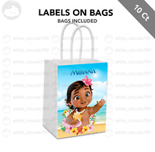 10 Moana Baby Label on White Kraft Gift Bag Shower Birthday Party Favor 5.5 x 8