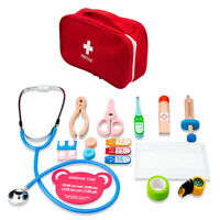 KQ_ Portable Wooden First Aid Kit Tools Kids Pretend  Toy Set Educational Gi