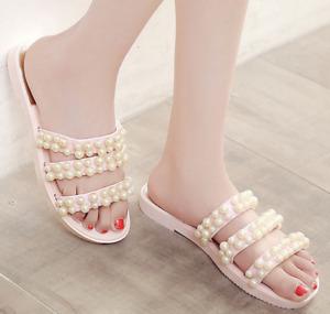 Women Slip On Pearl Strap Casual Ladies Beach Mules Flats Summer Fashion Sandals