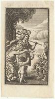Jäger + Horn + SPEER Jagd Original Kupferstich um 1780 Frau und Kind Mythologie